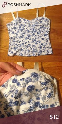 """Floral bustier tank Bustier with """"cup stitchings"""" and small blue flowers. The straps are adjustable. Divided Tops Tank Tops"""
