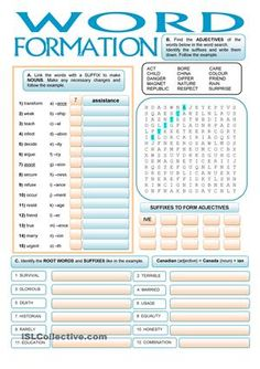 With this worksheet students are able to get used to some common suffixes to form adjectives and nouns.Task 1 - matching word with suffixes to form nounsTask 2 - finding adjectives in a word search and noting down the suffixTask 3 - identifying the root words and the suffixes - ESL worksheets