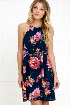 A sunset stroll through the garden calls for a romantic number like the X's and Rose Blue Floral Print Swing Dress! Halter neckline tops a woven swing bodice. Casual Party Dresses, Club Party Dresses, Ball Dresses, Cute Dresses, Romper With Skirt, Online Dress Shopping, Vacation Dresses, Types Of Dresses, Knee Length Dresses