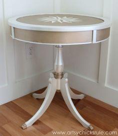 Modern-Masters-Metallic-Paint-Makeover-Compass-Rose-Table-side-finished-artsychicksrule.com-metallicpaint-furniture-compassrose-nautical-coastal1-600x688