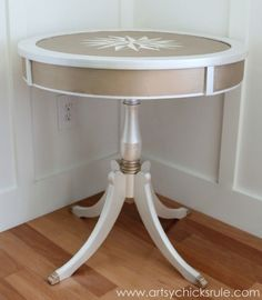 Modern-Masters-Metallic-Paint-Makeover-Compass-Rose-Table-side-finished-artsychicksrule.com-metallicpaint-furniture-compassrose-nautical-coastal1-600x688