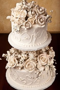 Lunds and Byerly's Wedding Cakes  - White Roses -    This beautiful elegant white buttercream cake is overflowing with beautiful sugar white roses.