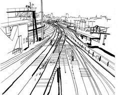 lucinda rogers dictionary of urbanism black and white ink drawing illustration railway tracks trains london