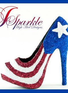 Puerto Rican High Heel PUMP, Shoes, Glitter e 600 white blue red, For anyone that loves something different High Heel Pumps, Pumps Heels, Stiletto Pumps, Puerto Rico, Puerto Rican Flag, Boots Talon, Shiny Shoes, Designer High Heels, Hot Shoes
