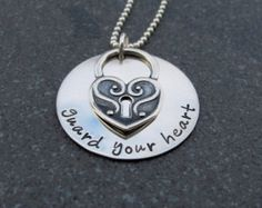 Guard Your Heart Proverbs 4:23 Personalized Hand Stamped Jewelry Religious Inspirational Jewelry