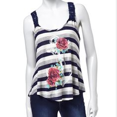 Striped Rose Anchor Tank Perfect summer tank for that hot summer sun. Complete the look with cute denim shorts & sandals for that hot summer day.                            95% Rayon 5% Spandex Sugar High Tops Tank Tops