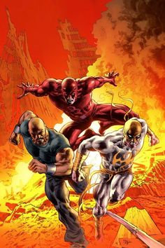 Luke Cage, Iron Fist & Daredevil by Mike Deodato Jr. Comic Book Characters, Comic Book Heroes, Marvel Characters, Comic Character, Comic Books Art, Comic Art, Book Art, Marvel Comics, Marvel Vs