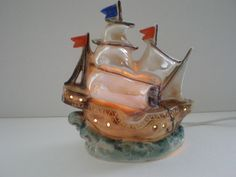 VINTAGE GERMAN SAILING SHIP PERFUME LAMP / GERMANY
