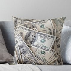 Money Pillow Sham Bills with Ben Franklin Printed Pillowcase 30 x 20 Inches