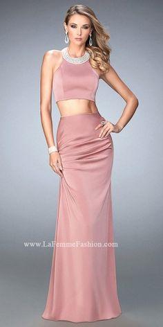 Jeweled Neckline Two Piece Prom Dress by La Femme #edressme