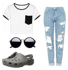 """Untitled #76"" by angielawley ❤ liked on Polyvore featuring Crocs and Topshop"