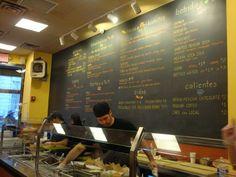 Giant chalkboard menu wall