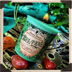 BELTANE VOTIVE CANDLE. May Day. Scent of Bergamot, Grapefruit, Vetiver, Elemi, Saffron & Cinnamon. Blessed by Unakite & Carnelian Crystals.