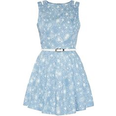 Parisian Blue Denim Floral Print Cut Out Skater Dress (56 BRL) ❤ liked on Polyvore featuring dresses, vestidos, short dresses, 13. dresses., short blue dresses, blue skater dress, blue sleeveless dress, blue denim dress and skater dress