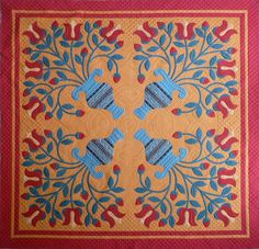 love the blue - One of Sue Garman's quilts. Love the color, applique and machine quilting - fabulous Old Quilts, Antique Quilts, Vintage Quilts, Mini Quilts, Patch Quilt, Quilt Blocks, Applique Patterns, Quilt Patterns, Applique Ideas