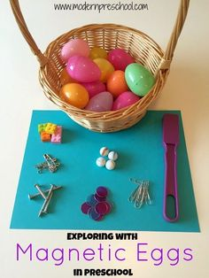 Fun center idea to help students explore magnets. Place small magnetic and non magnetic items inside the egg and have students use a magnetic wand to determine which egg is magnetic.
