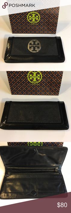 """Tory BURCH CLUTCH Excellent condition patent leather """"T"""" silver including shopping bag Tory Burch Bags Clutches & Wristlets"""