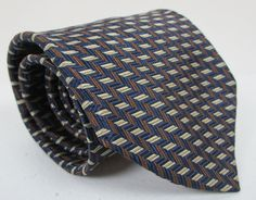 Mens Nautica Woven Silk Tie Blue Brown And Beige Classic Necktie 58 x 3.75 New #Nautica #Tie