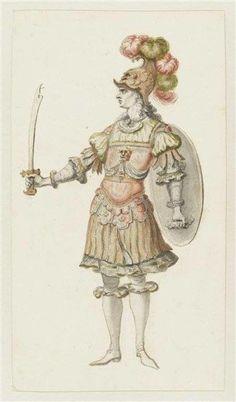 """Recueil """"Costumes des Fêtes, Mascarades, Théâtres, etc., de Louis XIV"""" - Jean I Bérain (1640-1711) – Costume de combattant pour le divertissement de l'acte II d'Alceste – Paris, Musée du Louvre"""