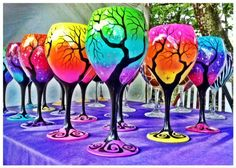 Artful wine glasses