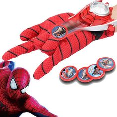 DC Justice League Superhero Spiderman Cosplay Glove with Flashing and Sounding,Kids Toy Spiderman Glove Launcher with 4 Frisbee #>=#>=#>=#>=#> Click on the pin to check out discount price, color, size, shipping, etc. Save and like it!