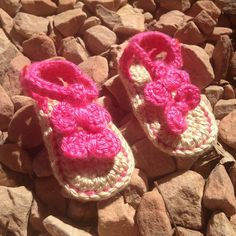 Crochet Baby SeaSide Sandals by RibbonYarnGalore on Etsy