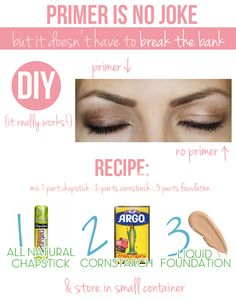 DiY eyeshadow primer. Tried it, and actually chapstick is better than glycerine. Very good result for a fraction of the cost