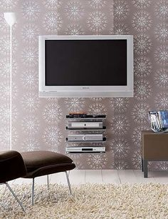 flat screen tv wall mount and shelves wow! if only we could be so neat
