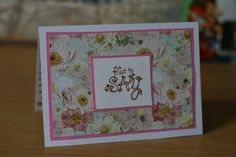Just to Say handmade card- Girl Cards- Floral Cards- Phoebe's Cards- Distress Ink