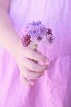Little girl with posies of purple.