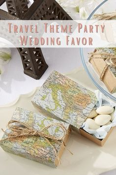 This unique design 'Around The World Map' Wedding Favor box features a Travel-inspiring theme and it's the perfect idea to thank your guests with a gift. Those favor boxes are great for small gifts or sweets. Suitable for destination wedding, Bridal Shower, Bachelorette Party with map-print cover and vintage, Kraft slide-drawer, tied with a double, natural-twine bow