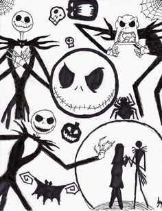 nightmare before christmas characters drawings - Google Search