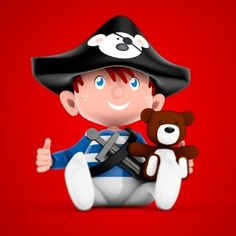 Concept voor een nieuwe serie kaarten bij @verkleurmannetje #pirate #piraat #boy #kid #kind #c4d #c4dr14 #cgi by verkleurmannetje