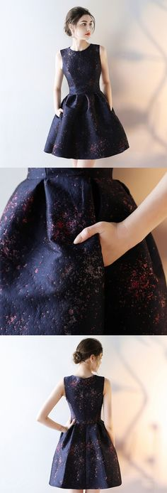 Satin Homecoming Dress, Sleeveless Homecoming Dress, Knee-Length Junior School Dress#2018homecoming#okbridal.co.uk