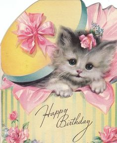Vintage birthday greeting card with kitten in hatbox!