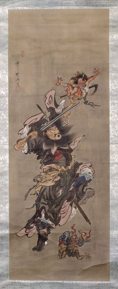 Shoki the Demon Queller and two demons; claimed to be by Kawanabe Kyosai