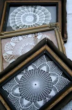 Creative Uses For Old Lace Remnants & Doilies Creative ideas in crafts and upcycled, innovative, repurposed art and home decor. Framed Doilies, Lace Doilies, Crochet Doilies, Doily Art, Doilies Crafts, Linens And Lace, Crochet Art, Vintage Lace, Vintage Sewing