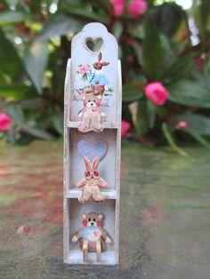 Dollhouse Miniatures ~ Karen Markland Blue Wall Shelf w/ Teddy Bear & Bunny, '88