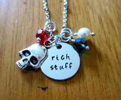 Movie Inspired Necklace. Rich Stuff. Pirate treasure. Hand stamped silver colored  Swarovski Elements crystal & skull. by WithLoveFromOC (item: 2015916310)