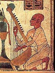 Arpa en pintura egipcia