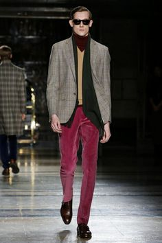 Hackett Menswear Fall Winter 2014 London - NOWFASHION  Pant silhouette nice complement to fabric color.