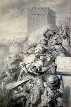 Drawing of the battle of marra by Henri Decaisne depicting an episode from the First Crusade.