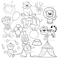 Illustration about Outlined cute cartoon circus elements for coloring book. Illustration of doodle, ball, element - 25470584 Circus Activities, Circus Crafts, Preschool Themes, Preschool Class, Animal Coloring Pages, Coloring Sheets, Coloring Books, Funny Pictures To Draw, Theme Carnaval