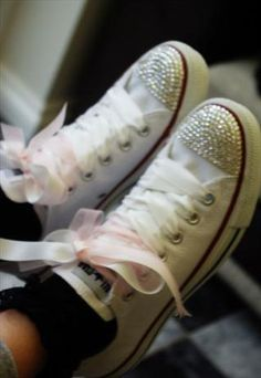 bedazzled converse with ribbon laces ♥