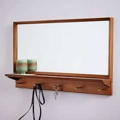 "$249. 34"" wide.  Mid-Century Entryway Mirror - Pecan #westelm This is 34"" wide, but love that it has acorn finish, and key hooks!"