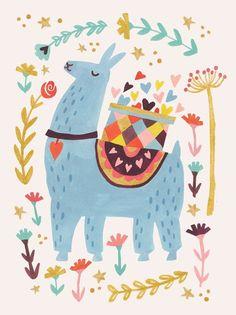 Oopsy Daisy Blue Llama by Irene Chan Canvas Art Alpaca Illustration, Illustration Mignonne, Cute Illustration, New Year Illustration, Alpacas, Funny Christmas Photos, Christmas Humor, Lama Animal, Llama Pictures