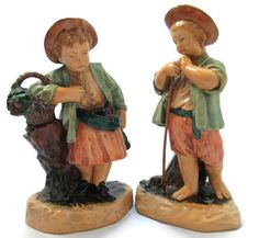Borghese Figurines Matched Pair Shepherd Boy and Girl