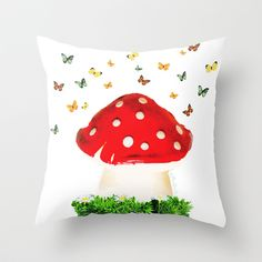 the magical toad stool Throw Pillow by Giftedfools - $20.00