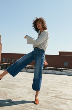 madewell wide-leg crop jeans in bainbridge wash worn with the bell-sleeve button-down shirt + walker mule.