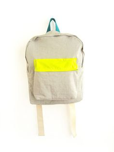 ziazia  Light grey with thin stripes backpack with neon yellow pouch